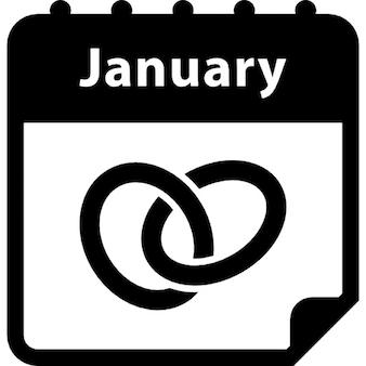 Wedding anniversary January calendar page