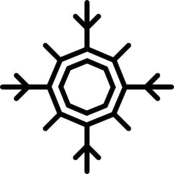 Winter snowflake with octagon center outline