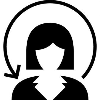 女性は円形の矢印でクローズアップ