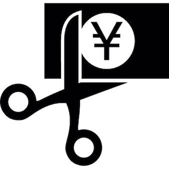 Yen bill being cutted by scissors