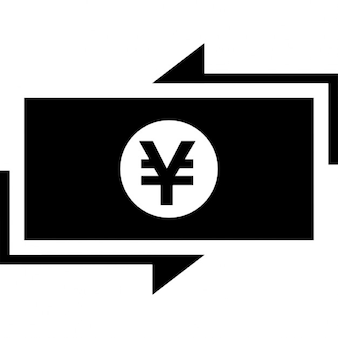 Yen money bill paper with arrows around
