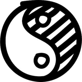 Yin yang hand drawn symbol