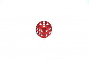 1 red dice close up on white background