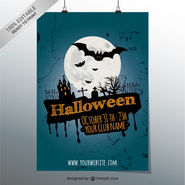 100% Editable Halloween party poster
