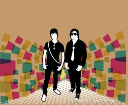 2 man silhouettes on colorful background