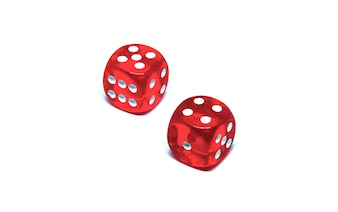 2 red dice close up on white background