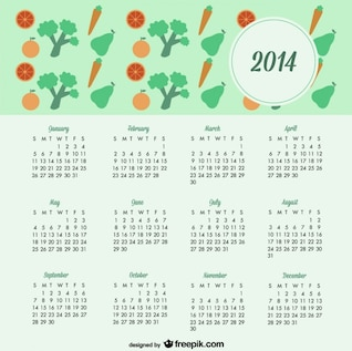 2014 Calendar Fruits and Vegetables Healthy Lifestyle Design