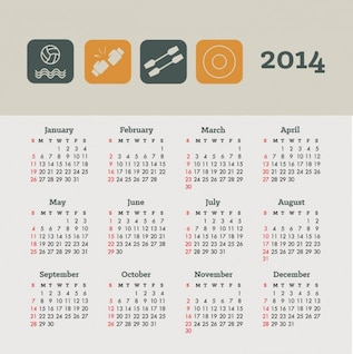 2014 Calendar Sports and Health Concept Design