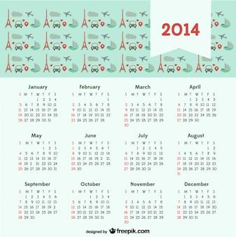 2014 Calendar with Travel Concept Paris City of Love