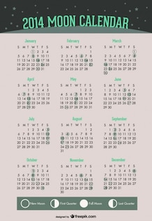 2014 Moon Phases Calendar of Green Design