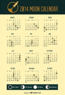 2014 Moon Phases Calendar Space Rocket Header