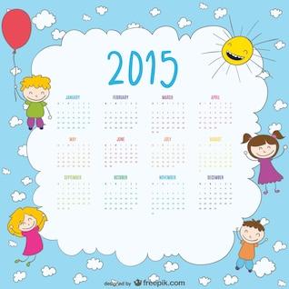 2015 calendar of happy kids drawing