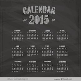 2015 Calendar with blackboard texture