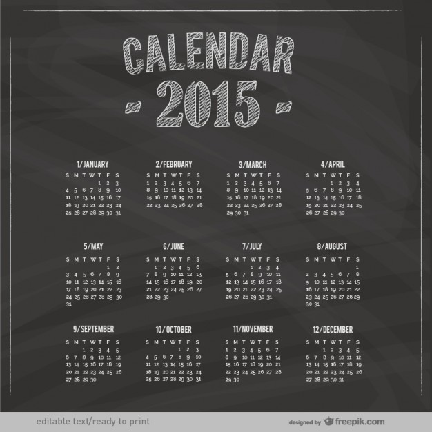 2015 Calendar with blackboard texture