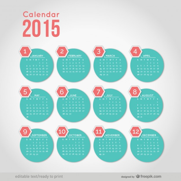 2015 Calendar with minimalist round shapes