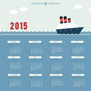 2015 Calendar with sea