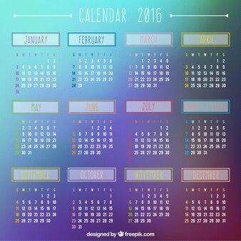 2016 calendar on gradient background
