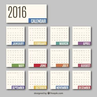 2016 monthly calendar