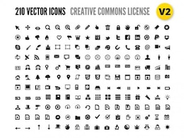 210 vectors icons with license Creative Commons