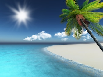 3d beach with a palm tree