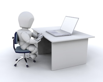 3d character playing computer