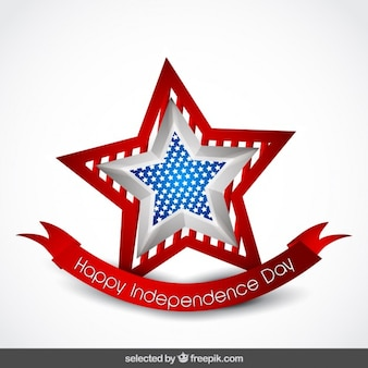 3d independence day star badge