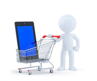 3d Man with shopping cart and blank screen tablet.