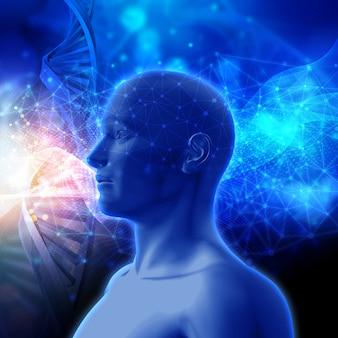 DNAストランドと男性の頭部と医療の背景の3Dレンダリング