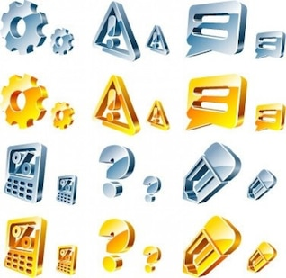 3d question marks vector