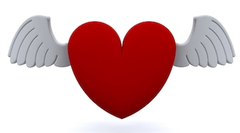 3d red heart with wings
