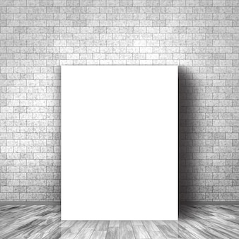 3d render of a blank canvas leaning against a brick wall