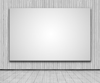 3d render of a blank canvas on a wooden wall