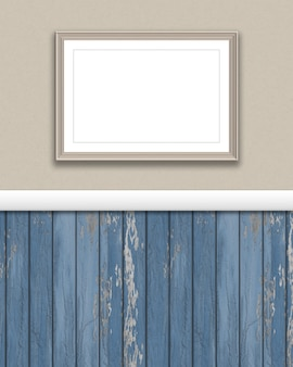 3d render of a blank picture frame on a grunge wall