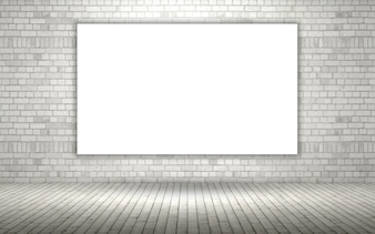 3d render of a brick wall with a blank canvas