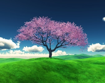 3d render of a cherry tree