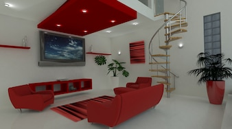 3d render of a contemporary living space