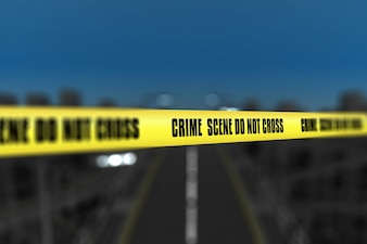 3d render of a crime scene tape against blurred city background