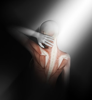 3d render of a female medical figure with partial muscle map holding neck in pain