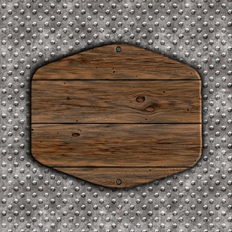 3d render of a grunge wood sign on a metal background