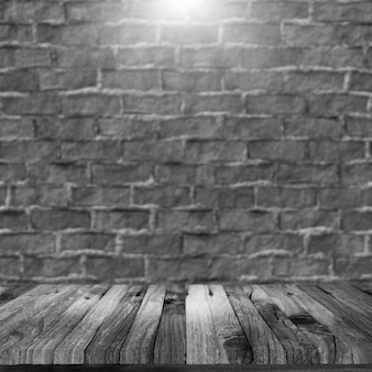 3d render of a grunge wooden table looking out to a blurred brick wall