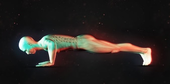 3d render of a male figure in push up position