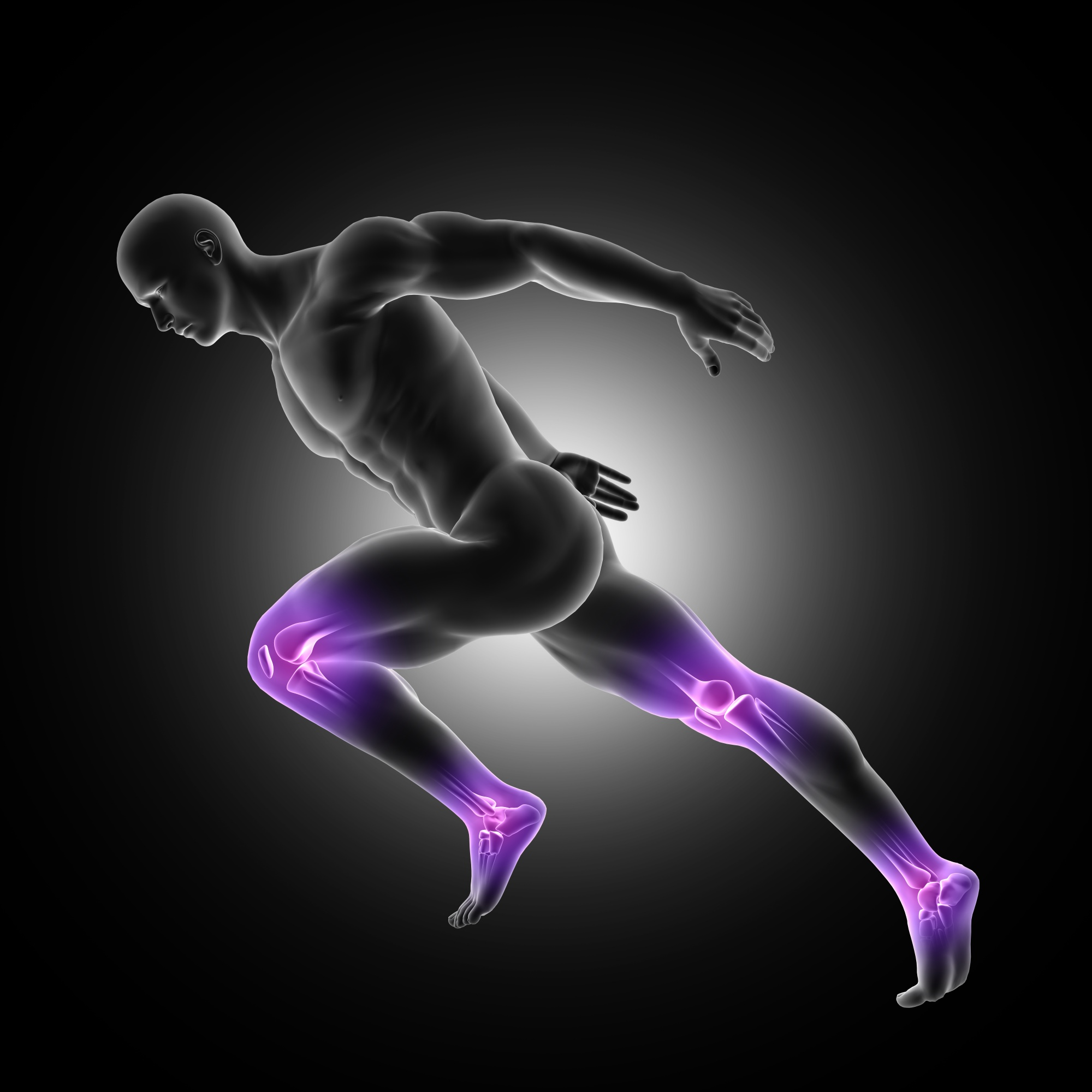3d render of a male figure in sprinting pose with leg joints highlighted
