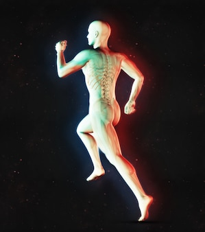 3d render of a male medical figure in running pose