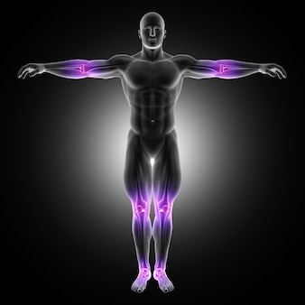 3d render of a male medical figure in standing pose with joints highlighted