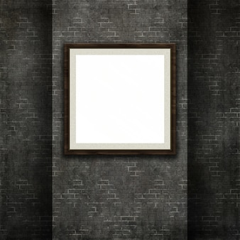 3d render of a picture frame on a grunge style brick wall texture