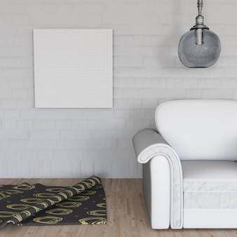 3d render of a room interior with blank canvas on wall