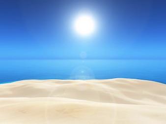 3d render of a sandy and blue sea landscape