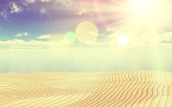 3d render of a sandy beach and ocean landscape with a vintage effect