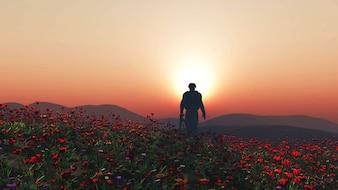 3d render of a soldier walking in a poppy field