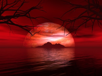 3d render of a surreal landscape with fictional planet and island in sea
